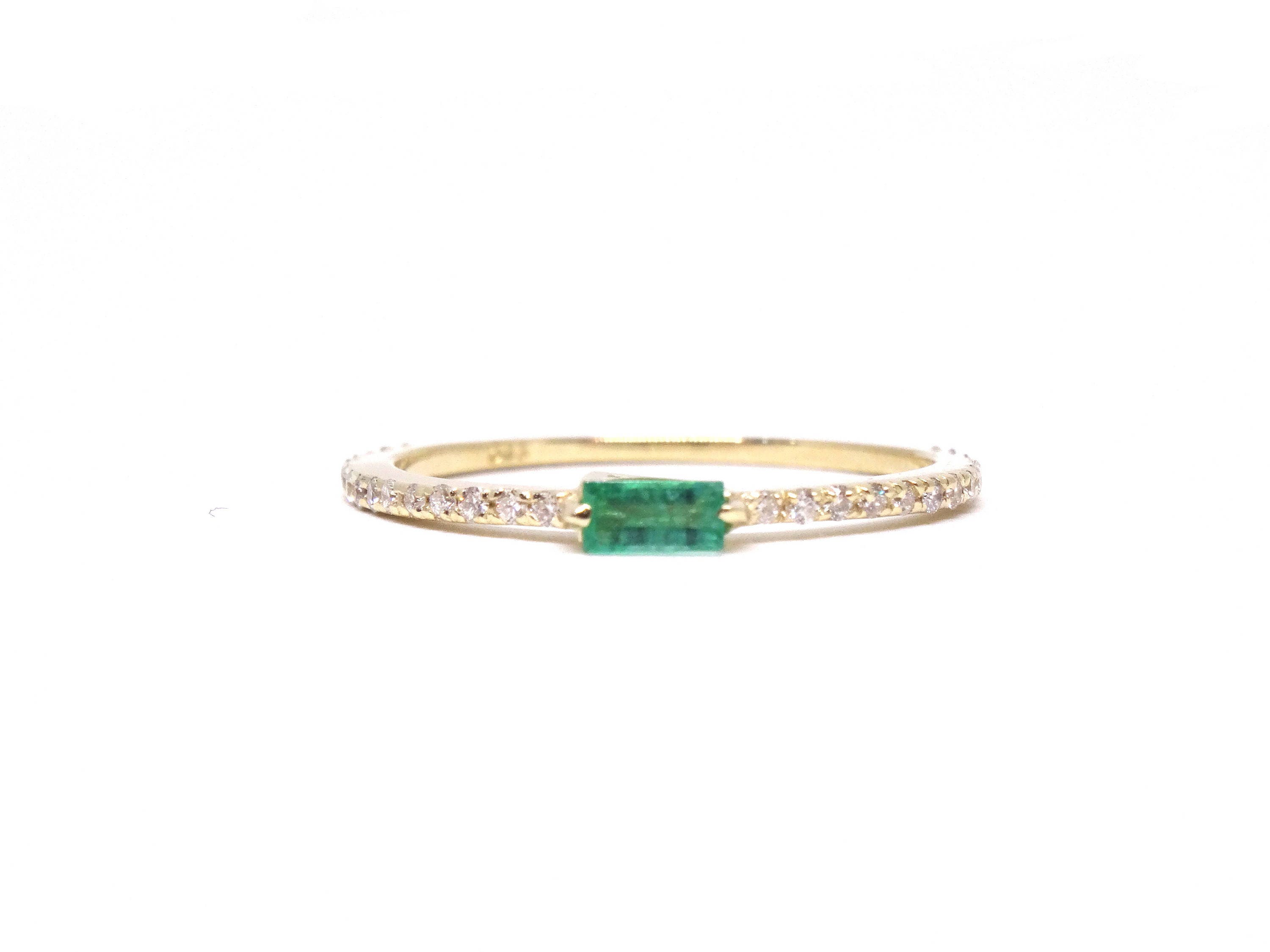 emerald bands anniversary gold cut product stone white band gabriel diamond