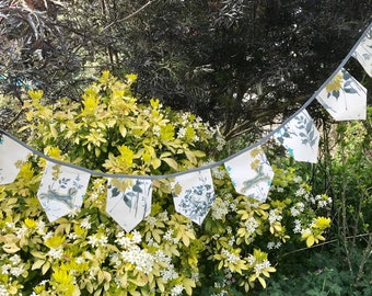 Fabric Banner, Hare and wild flowers Bunting Banner, wild hare print homeware, British countryside, Afternoon Tea, appliqué hare image, baby