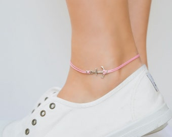 Anchor anklet, pink dainty anklet with silver anchor charm, pink ankle bracelet, gift for her, nautical minimalist jewelry, beach accessory