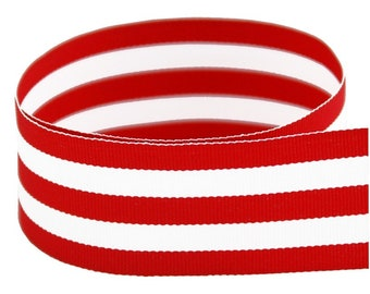 """1.5"""" RED & WHITE Grosgrain Mono Stripe Ribbon -Red and White Stripes - Offray - Thick Stripes"""
