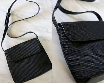 1990's Vintage Liz Claiborne Black Woven Side Bag // Black Woven Cross Body Purse