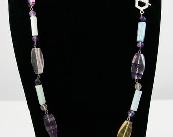 Amazing Amazonite & Fluorite Long Necklace