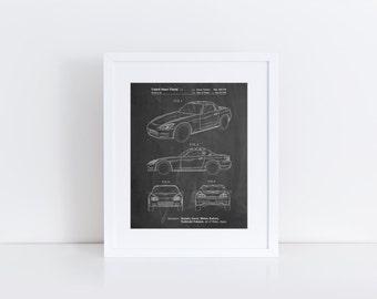 Sports Car Patent Poster, Convertible, Car Wall Art, 90's Art, Teen Room Decor, Car Enthusiast, PP0882