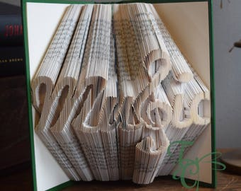 Folded Book Art - Music with Treble Clef - Book Sculpture - Unique - Book Folding - Music Lover - Music - Gift