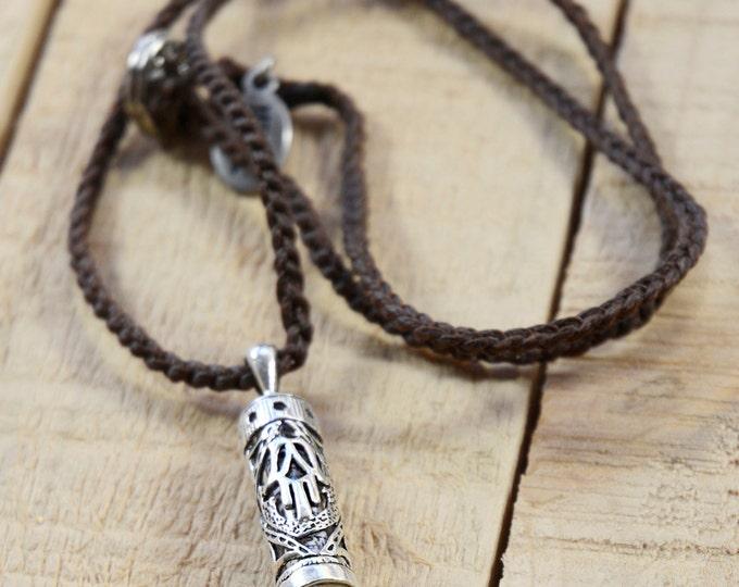 Hamsa Mezuzah Case Pendant on Brown Necklace