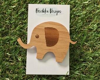 Laser Cut Bamboo Elephant Brooch