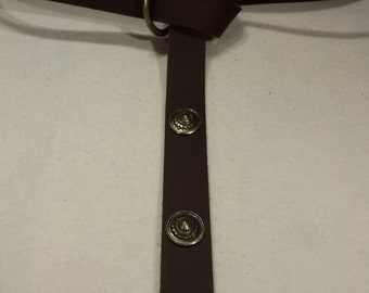 Middle Ages-belt ring-belts chocolate-Brown 157 cm 4 cone-rivets 100% full-cowhide leather LARP role Play
