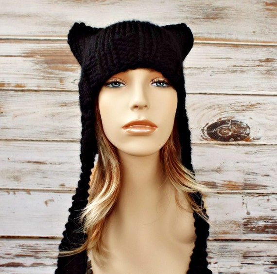 Black Ear Flap Cat Hat Black Knit Hat Black Hat Black Cat Hat Black Beanie Womens Hat Womens Knit Accessories Winter Hat - 34 Color Choices
