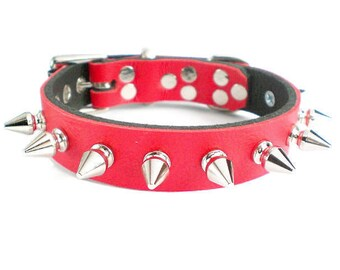 "3/4"" Soft Fire Red, Thick Leather Spiked Dog Collar with small tree spikes"