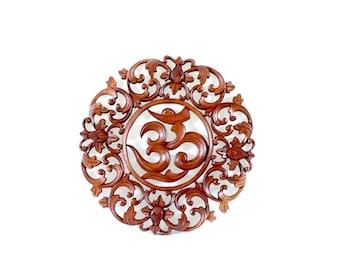 Balinese Wood Carving - Round Om Sanskrit Symbol Suar Wood Panel