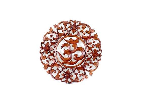 Balinese Wood Carving Round Om Sanskrit Symbol Suar Wood