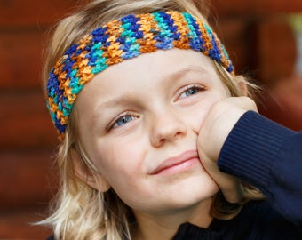 Fall Boy Headband / Crochet Headband / Boy Ear Warmer / Boy Hair Accessory / Rustic Headband / Kid Headband / Stretchy Headband / Boy Band