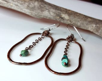 Copper Turquoise Hoops, Hippie Relic Earrings, Women's Hoops, Hammered Hoops, Dangle Hoops, Rustic Hoops, Beads, Drop Chain Boho Style