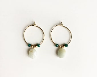 Women gemstones and gold plated grapes of bear blue green earrings