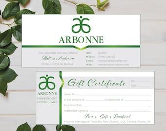 PRINTABLE Arbonne Gift Certificate, Arbonne Printable Gift Certificate, Custom Business Card, Digital File AB004