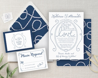 Navy Nautical Wedding Invitation Suite - Hand drawn - customize in ANY COLOR! - Ropes - Knot - Cove Suite