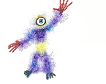 Rainbow Cyclops - Bendable Copper Wire Creature - fun, unique, fully poseable! Hand-made out of recycled & repurposed materials.