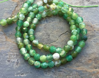 Green Agate Beads, Modeled Green Agate Beads, Faceted Green Agate Beads, 4mm, 14.5 inch strand