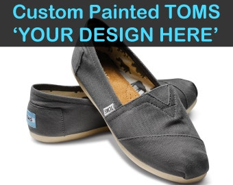 Custom TOMS Painted Shoes Choose Your Design Hand Painted TOMS Shoes Customizable Flats Canvas Ash Natural Black Olive Navy Unisex Footwear