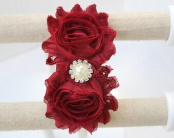 Dark red flower girl headband cream and crimson wedding headband burgundy headband dark red headband bridesmaid headband ruby red headband