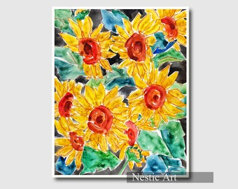 Sunflowers / flower, botanical, floral, yellow and black, watercolor art, printable, illustration, wall print, 5x7, 8x10, 11x14