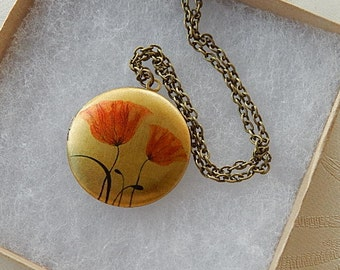 Poppy Locket,  Locket Necklace, Photo Image, Gift for Her