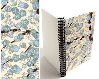 Blue Cherry Blossoms Notebook A5 Spiral Bound - 5x7 Inches, Flowers, Writing Diary Journal, Small, Cute, Blank Sketchbook, Back to School