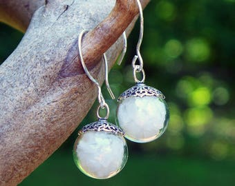 Recycled Reclaimed Vintage 1960s White Milk Glass Cold Cream Jar Glass and Sterling Silver Orb Earrings