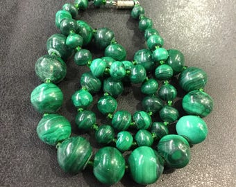 Malachite beads ,graduated 20""