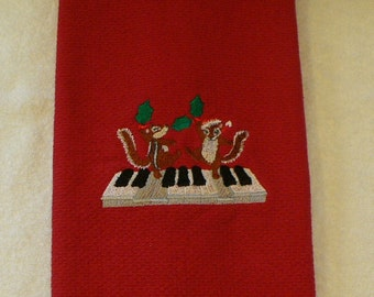 Kitchen Towel With Chipmunks Dancing on Piano Keys