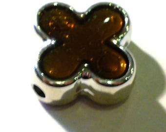 Perle cross CCB 1 Brown and silver 16mm - CCBP504