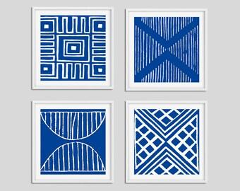 Blue and White Wall Art Prints, Set of 4 Nautical Art, Dining Room Wall Art, Bedroom Wall Art Set, Living Room Square Art, Coastal Artwork