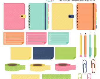 Planner Supplies Clipart Set - planners, sticky notes, paperclips, washi tape, pens - personal use, small commercial use, instant download