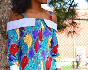 Ankara off shoulder shirt