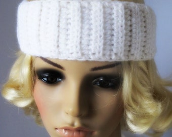 Crocheted Glitter White Headband. Wide. Hairband.