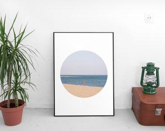 Beach Decor, Wall Art Decor, Printable Photography, Colorful Prints, Circle, Spain Photography, Beach Print, Instant Download, Barcelona