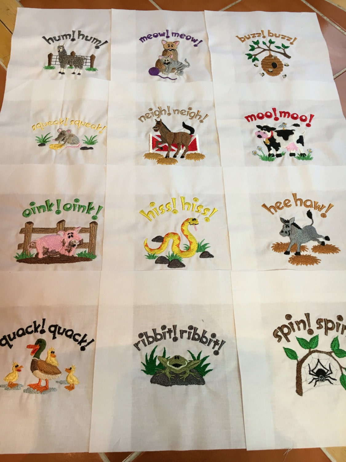 Old Macdonald Embroidered Quilt Blocks Ready To Sew 7