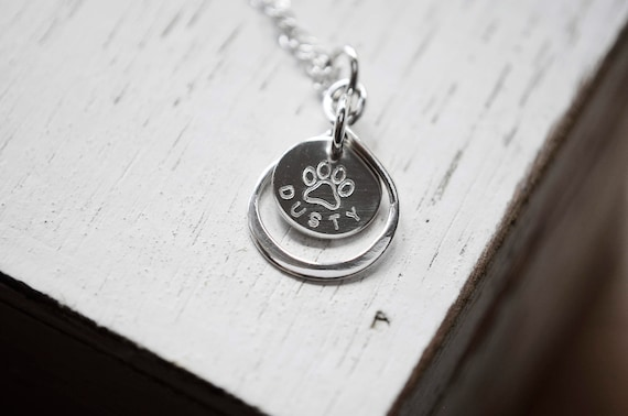 Tiny Paw Print Necklace   Silver Paw Print Necklace   Paw Print   Stamped Paw   Pet Name Necklace   Infinity Necklace   Memorial Necklace