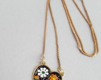 Enamel floral vintage necklace