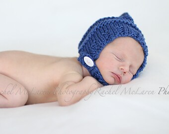 Pixie bonnet baby hat with chin strap and button hand knit dusty blue sapphire australian wool newborn boy photography photo prop