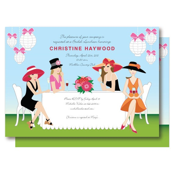 Garden bridal shower invitation champagne brunch big hat like this item stopboris