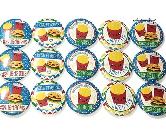 """Fast Food Magnet, 1"""", Button Magnet, French Fry Magnet, Burger Magnet, Soft Drink Magnet, Fast Food Theme, Fast Food Decor, French Fries"""