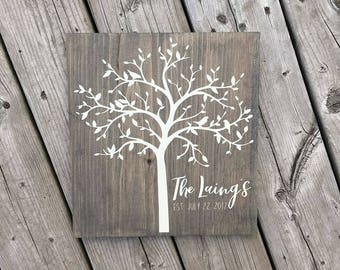 Personalized Family Established Wood Sign, Tree, Wedding, Engagement, Bridal Shower, Anniversary, Gift Idea, Farmhouse, Rustic Home Decor