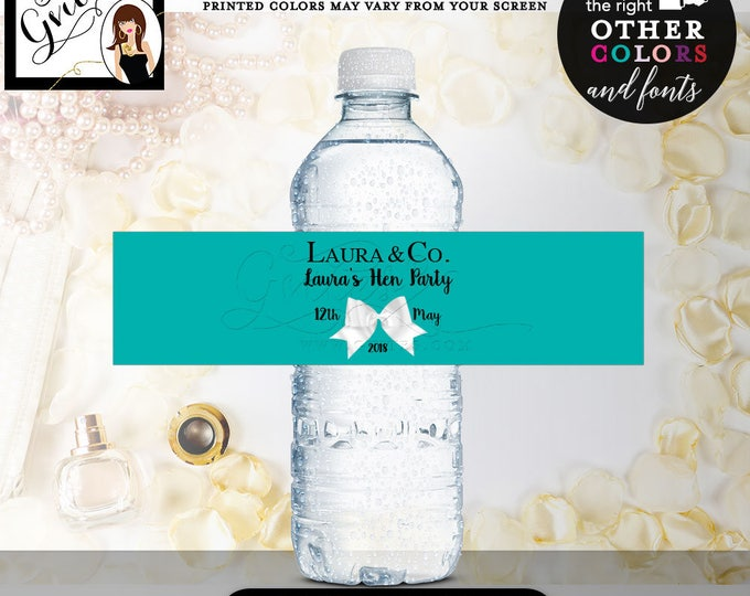 "Hens Party water bottle labels, bachelorette water label bridal shower, wedding shower, lingerie, PRINTABLE DIY, Digital. 8x2"" 5 Per/Sheet"