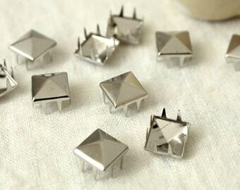 13mm 50pcs Large silver pyramid studs ( 8 legs ) / HIGH Quality - Fikashop
