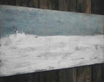Abstract Ocean Painting, 15 x 30 Minimalist Gray White Canvas Wall Art