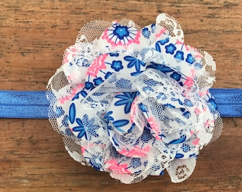 Blue and Neon Pink Chiffon Flower headband/hair clip/girls