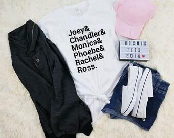friends tv show shirt, friends cast name, friends name list, tumblr shirt, aesthetic clothing, harajuku, instagram, kawaii, grunge, hipster