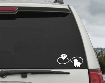 Shih Tzu Infinity Paw Heart Decal  - Car Window Decal Sticker