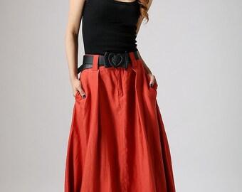 Maxi skirt, orange skirt, boho skirt, linen skirt, long skirts for women, lagenlook skirt, skirt with pockets, custom made skirt, gifts 896